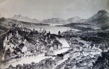 Blick vom Gütsch über die Stadt Luzern in den 1860er-Jahren