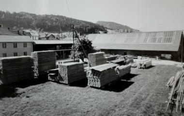 Holzlager vor der fertiggestellten Fabrikhalle in Ebikon (um 1945)
