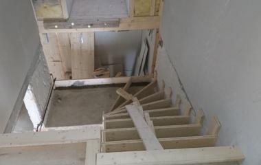 Treppenschalung vor dem Betonieren
