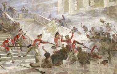 1792 Sturm auf Tuilerienpalast in Paris - Schweizergarde beschützt König