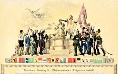 Die von Tell gekrönte Helvetia hält die Bundesverfassung