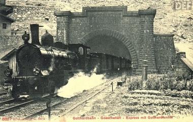 1882 Gotthardtunnel Nordportal - schnelle Nord-Süd Verbindung