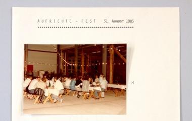 1985 Aufrichtefest neue Zimmerei- und Fabrikhallen in Ebikon