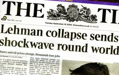 Oktober 2008 Lehman Brothers Pleite - Weltfinanzkrise