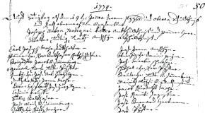 Datiertes Ratsprotokoll vom 14. jenner 1774