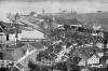 Seltene Ansicht Luzerns mit dem ersten Bahnhof (oben Mitte) von 1859