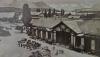 Kutscher warten vor dem ersten Bahnhof auf Kundschaft um 1860